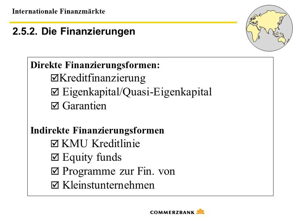Internationale Finanzmärkte 2.5.2. Die Finanzierungen Direkte Finanzierungsformen: Kreditfinanzierung Eigenkapital/Quasi-Eigenkapital Garantien Indire