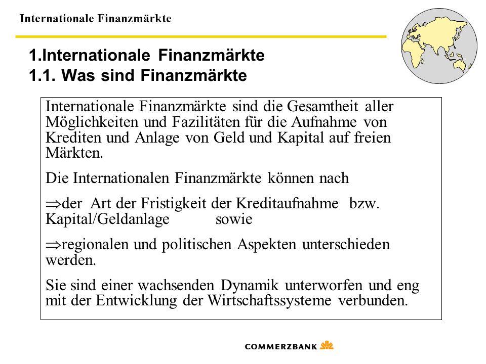 Internationale Finanzmärkte 1.Internationale Finanzmärkte 1.1. Was sind Finanzmärkte Internationale Finanzmärkte sind die Gesamtheit aller Möglichkeit