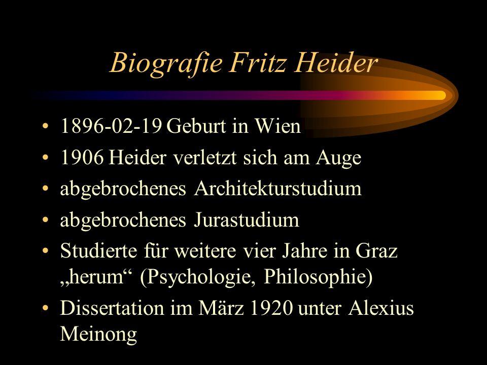 Biografie Fritz Heider 1896-02-19 Geburt in Wien 1906 Heider verletzt sich am Auge abgebrochenes Architekturstudium abgebrochenes Jurastudium Studierte für weitere vier Jahre in Graz herum (Psychologie, Philosophie) Dissertation im März 1920 unter Alexius Meinong