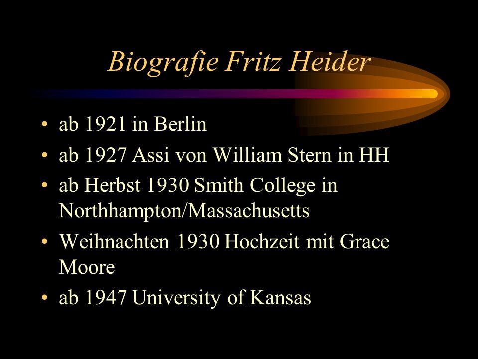 Biografie Fritz Heider ab 1921 in Berlin ab 1927 Assi von William Stern in HH ab Herbst 1930 Smith College in Northhampton/Massachusetts Weihnachten 1930 Hochzeit mit Grace Moore ab 1947 University of Kansas