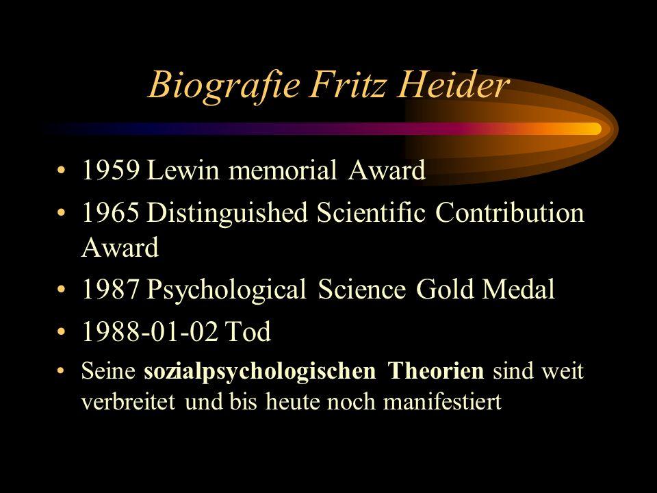 Biografie Fritz Heider 1959 Lewin memorial Award 1965 Distinguished Scientific Contribution Award 1987 Psychological Science Gold Medal 1988-01-02 Tod Seine sozialpsychologischen Theorien sind weit verbreitet und bis heute noch manifestiert