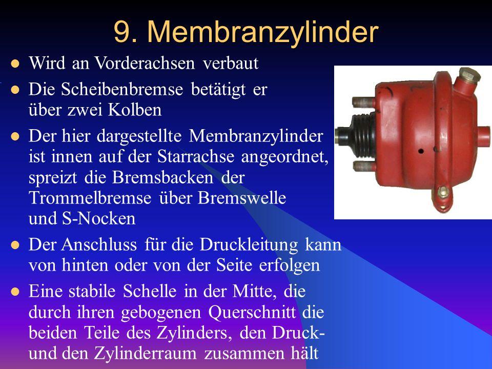 9. Membranzylinder Wird an Vorderachsen verbaut Die Scheibenbremse betätigt er über zwei Kolben Der hier dargestellte Membranzylinder ist innen auf de