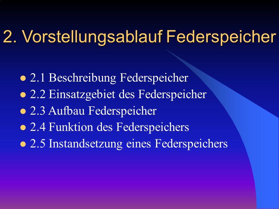 2. Vorstellungsablauf Federspeicher 2.1 Beschreibung Federspeicher 2.2 Einsatzgebiet des Federspeicher 2.3 Aufbau Federspeicher 2.4 Funktion des Feder