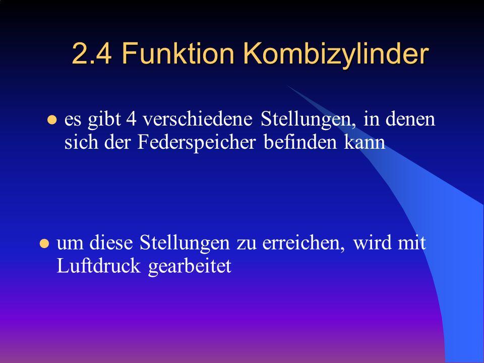 2.4 Funktion Kombizylinder es gibt 4 verschiedene Stellungen, in denen sich der Federspeicher befinden kann um diese Stellungen zu erreichen, wird mit