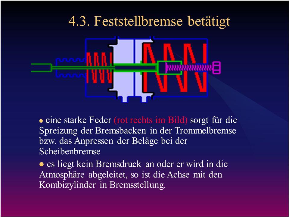 4.3. Feststellbremse betätigt eine starke Feder (rot rechts im Bild) sorgt für die Spreizung der Bremsbacken in der Trommelbremse bzw. das Anpressen d
