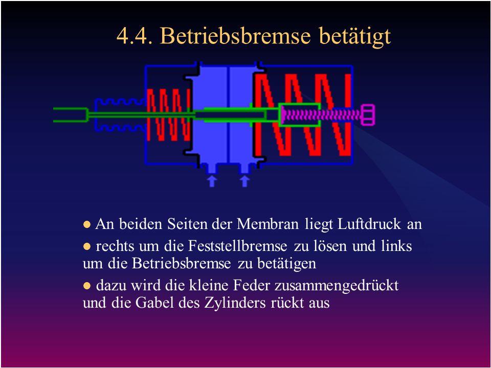 4.4. Betriebsbremse betätigt An beiden Seiten der Membran liegt Luftdruck an rechts um die Feststellbremse zu lösen und links um die Betriebsbremse zu