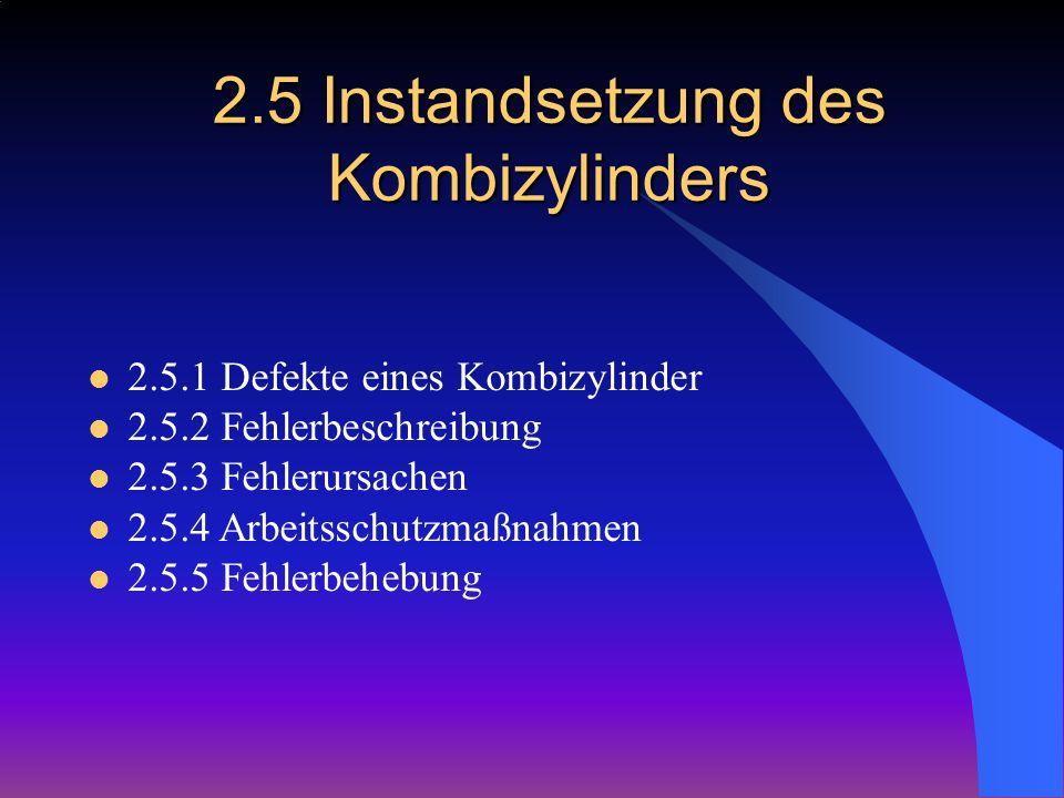 2.5 Instandsetzung des Kombizylinders 2.5.1 Defekte eines Kombizylinder 2.5.2 Fehlerbeschreibung 2.5.3 Fehlerursachen 2.5.4 Arbeitsschutzmaßnahmen 2.5