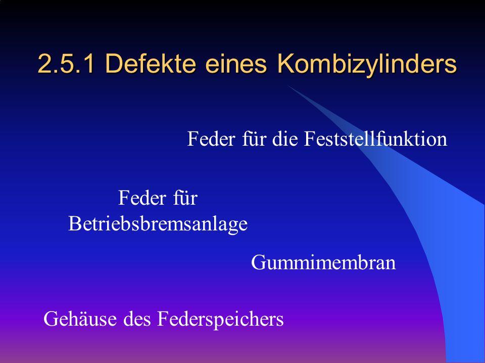 2.5.1 Defekte eines Kombizylinders Feder für die Feststellfunktion Feder für Betriebsbremsanlage Gummimembran Gehäuse des Federspeichers