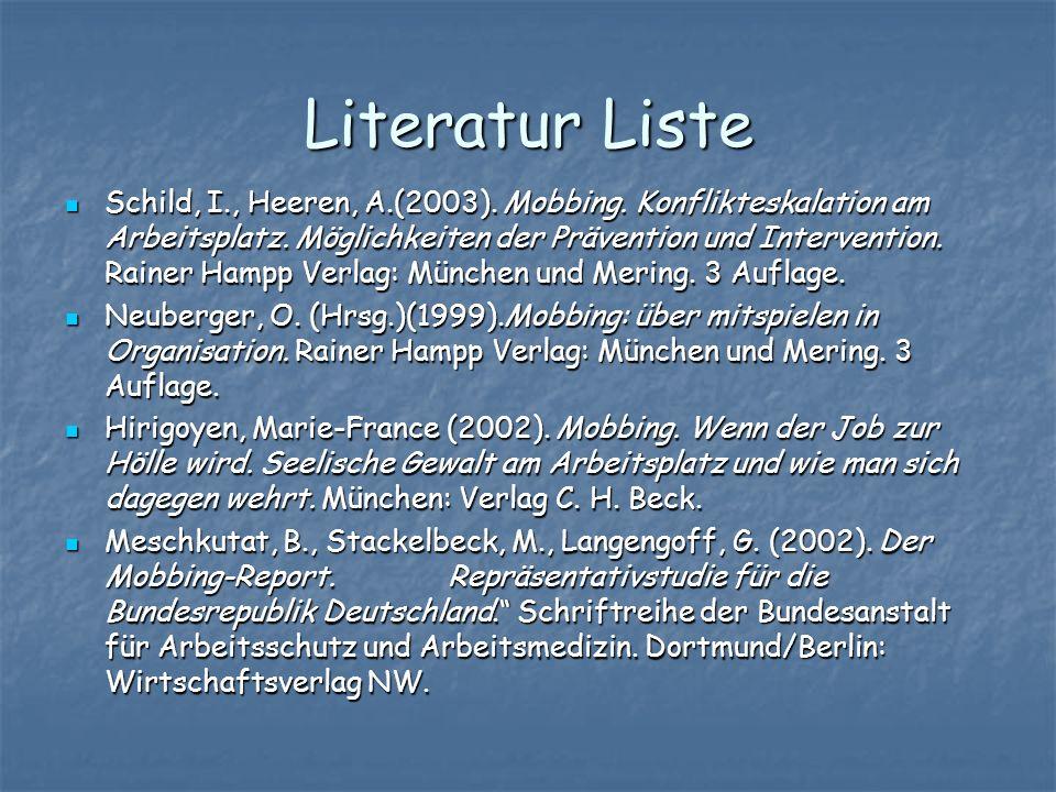 Literatur Liste Schild, I., Heeren, A.(2003). Mobbing. Konflikteskalation am Arbeitsplatz. Möglichkeiten der Prävention und Intervention. Rainer Hampp