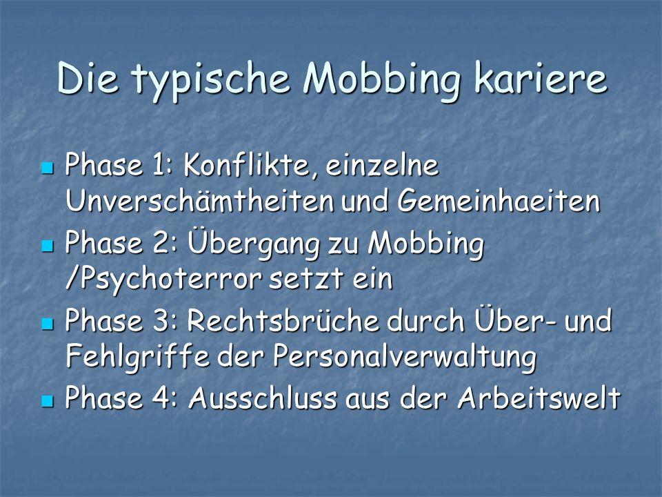 Die typische Mobbing kariere Phase 1: Konflikte, einzelne Unverschämtheiten und Gemeinhaeiten Phase 1: Konflikte, einzelne Unverschämtheiten und Gemei