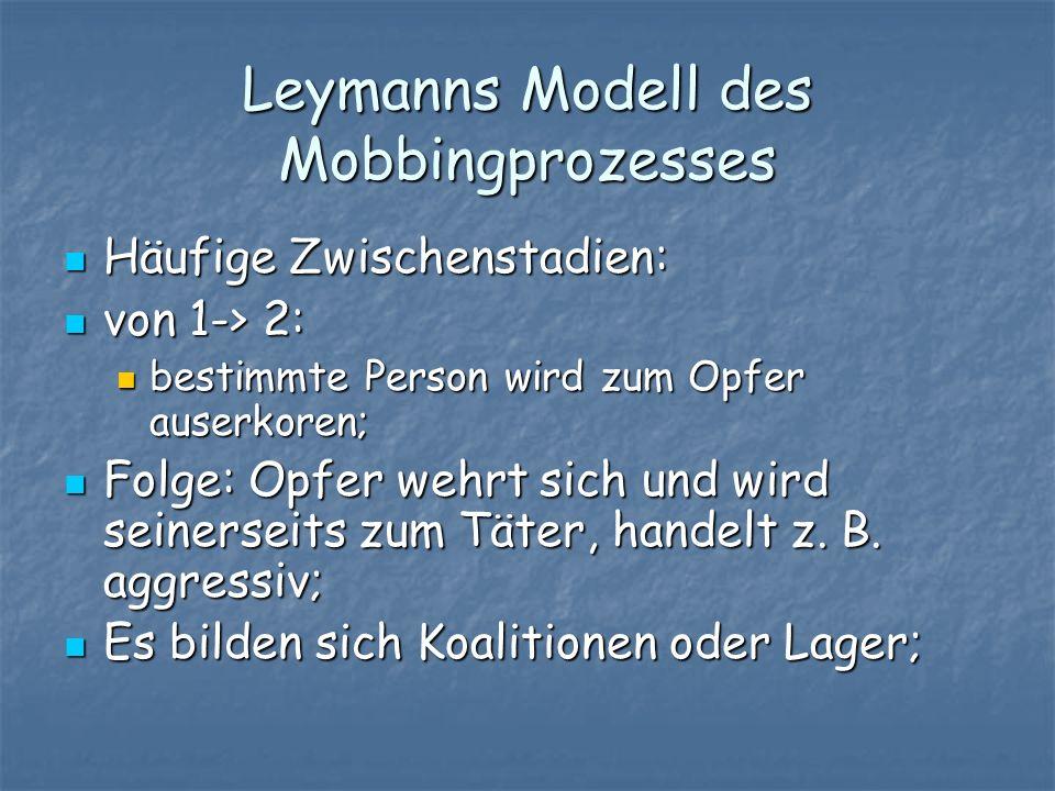 Leymanns Modell des Mobbingprozesses Häufige Zwischenstadien: Häufige Zwischenstadien: von 1-> 2: von 1-> 2: bestimmte Person wird zum Opfer auserkore