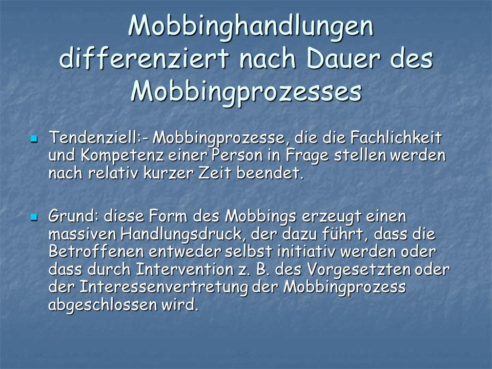Mobbinghandlungen differenziert nach Dauer des Mobbingprozesses Mobbinghandlungen differenziert nach Dauer des Mobbingprozesses Tendenziell:- Mobbingp