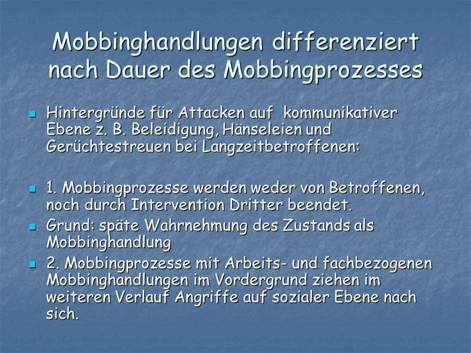 Mobbinghandlungen differenziert nach Dauer des Mobbingprozesses Hintergründe für Attacken auf kommunikativer Ebene z. B. Beleidigung, Hänseleien und G
