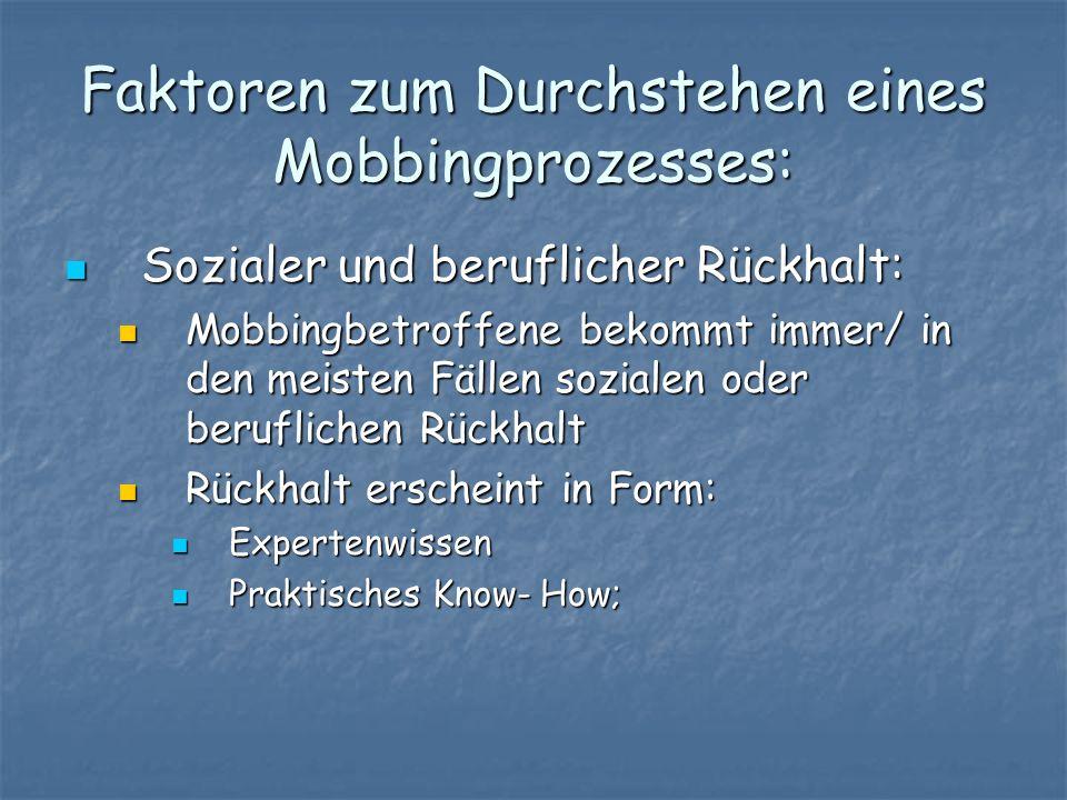 Faktoren zum Durchstehen eines Mobbingprozesses: Sozialer und beruflicher Rückhalt: Sozialer und beruflicher Rückhalt: Mobbingbetroffene bekommt immer
