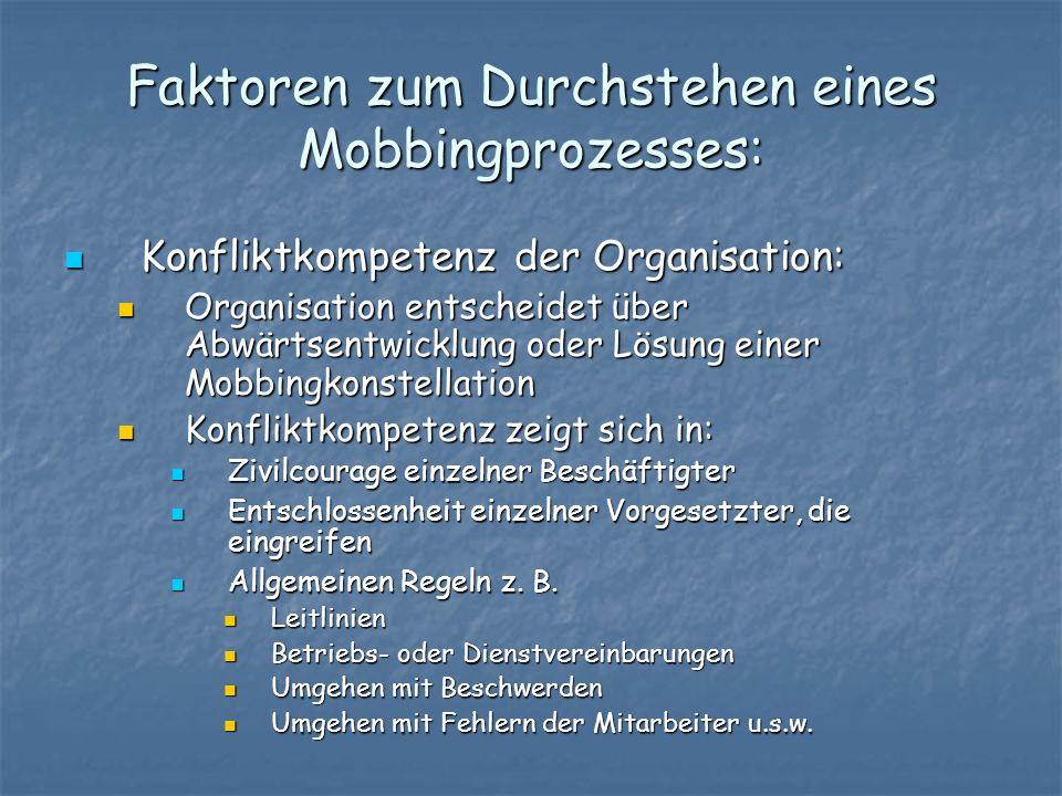 Faktoren zum Durchstehen eines Mobbingprozesses: Konfliktkompetenz der Organisation: Konfliktkompetenz der Organisation: Organisation entscheidet über