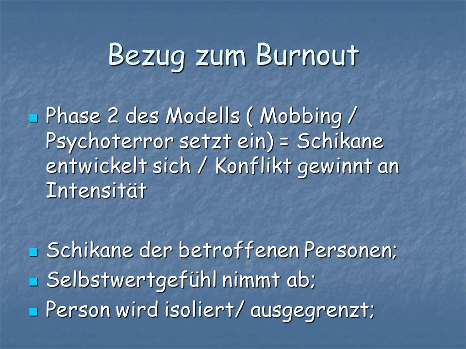 Bezug zum Burnout Phase 2 des Modells ( Mobbing / Psychoterror setzt ein) = Schikane entwickelt sich / Konflikt gewinnt an Intensität Phase 2 des Mode