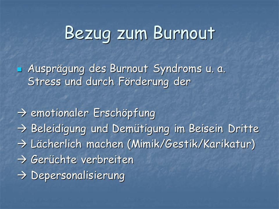 Bezug zum Burnout Ausprägung des Burnout Syndroms u. a. Stress und durch Förderung der Ausprägung des Burnout Syndroms u. a. Stress und durch Förderun