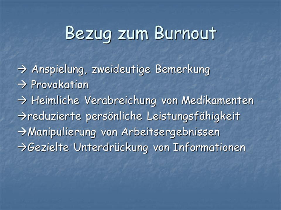 Bezug zum Burnout Anspielung, zweideutige Bemerkung Anspielung, zweideutige Bemerkung Provokation Provokation Heimliche Verabreichung von Medikamenten