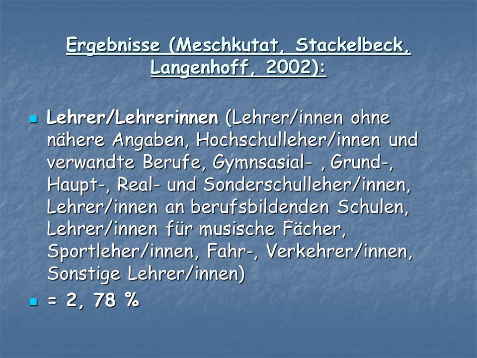 Ergebnisse (Meschkutat, Stackelbeck, Langenhoff, 2002): Lehrer/Lehrerinnen (Lehrer/innen ohne nähere Angaben, Hochschulleher/innen und verwandte Beruf