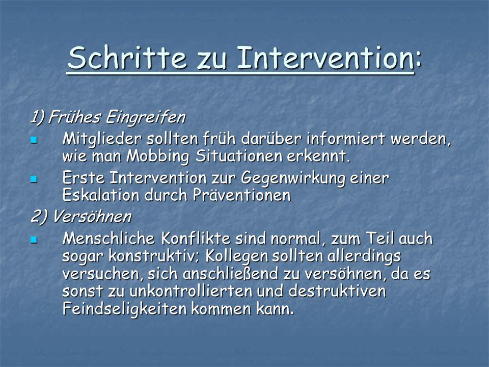 Schritte zu Intervention: 1) Frühes Eingreifen Mitglieder sollten früh darüber informiert werden, wie man Mobbing Situationen erkennt. Mitglieder soll