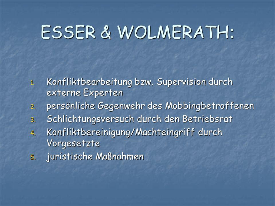 ESSER & WOLMERATH: 1. Konfliktbearbeitung bzw. Supervision durch externe Experten 2. persönliche Gegenwehr des Mobbingbetroffenen 3. Schlichtungsversu