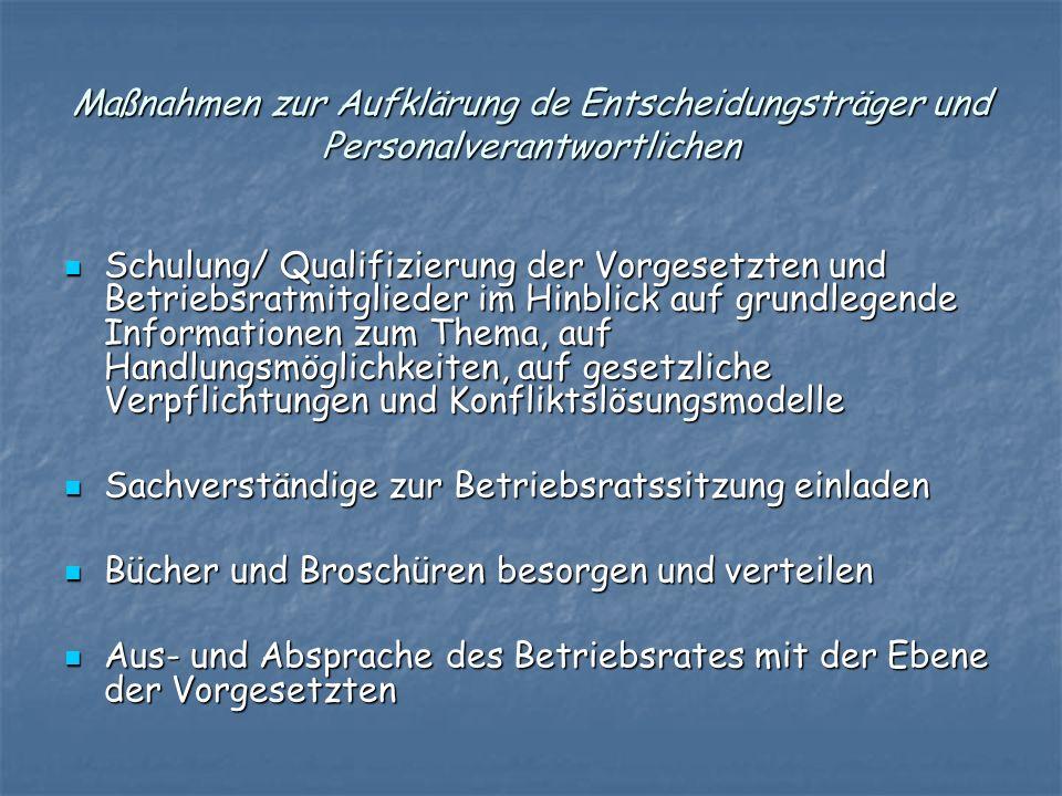Maßnahmen zur Aufklärung de Entscheidungsträger und Personalverantwortlichen Schulung/ Qualifizierung der Vorgesetzten und Betriebsratmitglieder im Hi