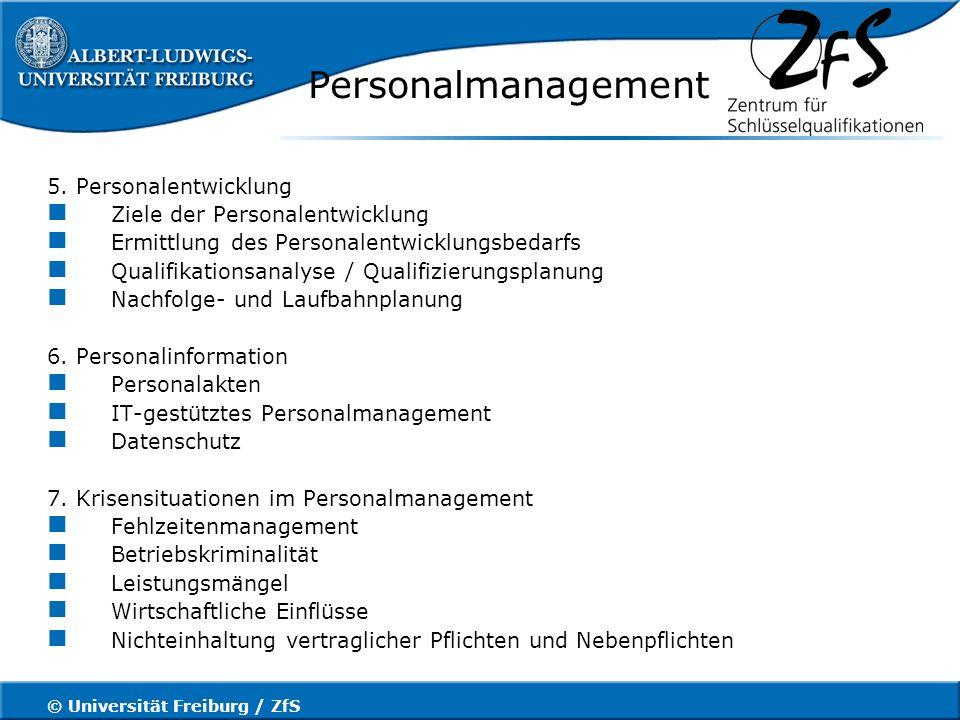 © Universität Freiburg / ZfS Mitarbeitergespräche Gesprächsführung–die 4 Phasen eines Mitarbeitergesprächs 1.Definition und Festlegung des Gesprächsziels 2.Gesprächsvorbereitung Inhaltlich Organisatorisch psychologisch 3.Gesprächsdurchführung allgemeiner Gesprächseinstieg, um ein angenehmes Klima zu schaffen Information über Inhalt und Ziel des Gesprächs geben welche Maßnahmen / Konsequenzen werden ergriffen.
