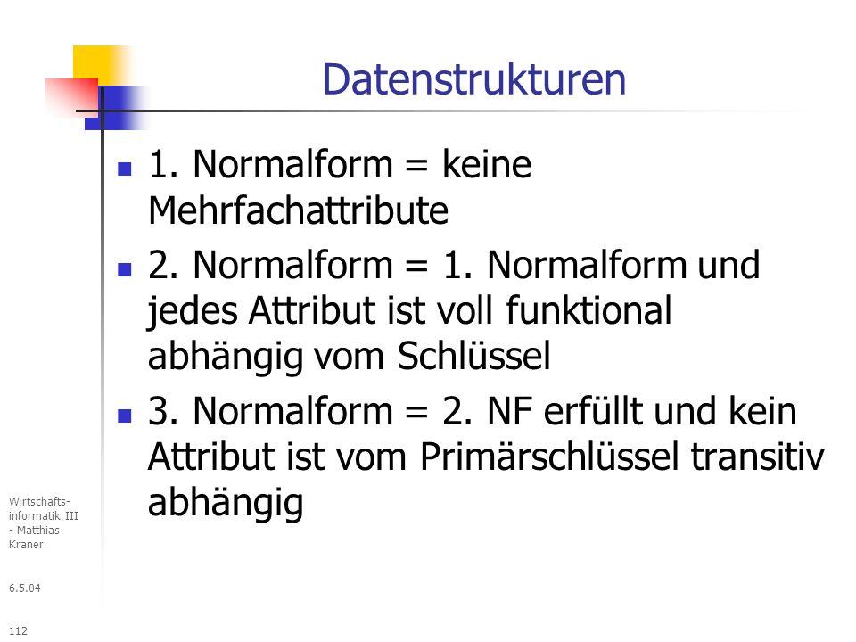 6.5.04 Wirtschafts- informatik III - Matthias Kraner 112 Datenstrukturen 1.