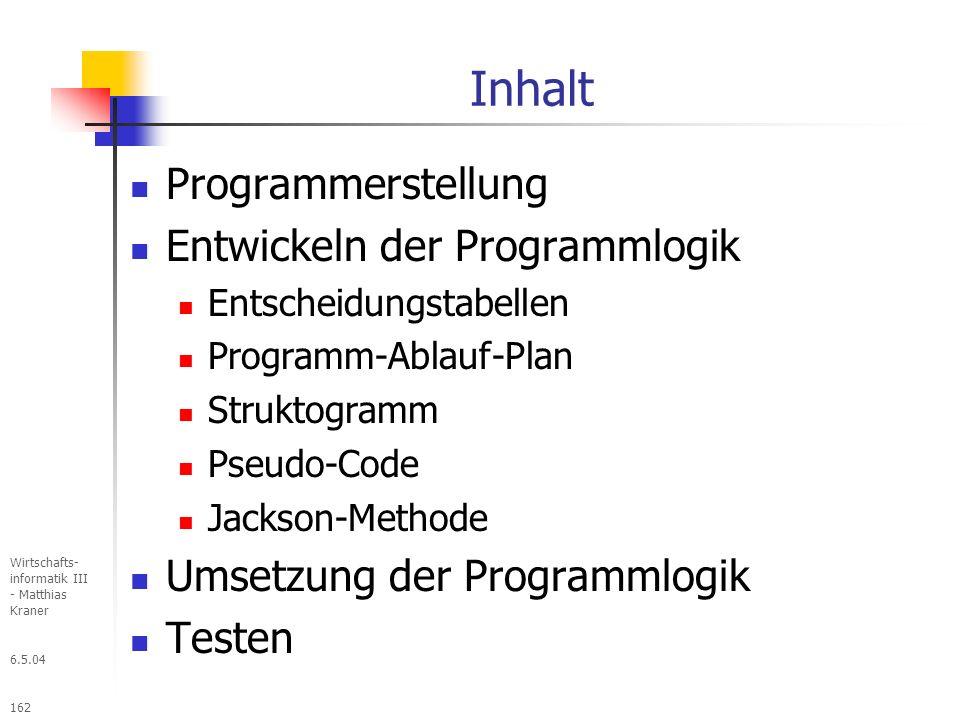 6.5.04 Wirtschafts- informatik III - Matthias Kraner 162 Inhalt Programmerstellung Entwickeln der Programmlogik Entscheidungstabellen Programm-Ablauf-Plan Struktogramm Pseudo-Code Jackson-Methode Umsetzung der Programmlogik Testen