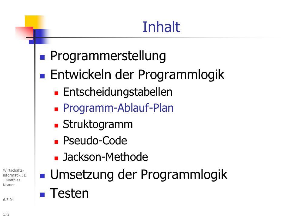 6.5.04 Wirtschafts- informatik III - Matthias Kraner 172 Inhalt Programmerstellung Entwickeln der Programmlogik Entscheidungstabellen Programm-Ablauf-Plan Struktogramm Pseudo-Code Jackson-Methode Umsetzung der Programmlogik Testen