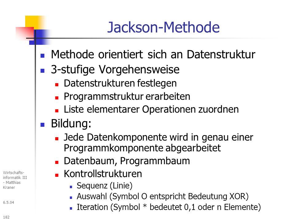 6.5.04 Wirtschafts- informatik III - Matthias Kraner 182 Jackson-Methode Methode orientiert sich an Datenstruktur 3-stufige Vorgehensweise Datenstrukturen festlegen Programmstruktur erarbeiten Liste elementarer Operationen zuordnen Bildung: Jede Datenkomponente wird in genau einer Programmkomponente abgearbeitet Datenbaum, Programmbaum Kontrollstrukturen Sequenz (Linie) Auswahl (Symbol O entspricht Bedeutung XOR) Iteration (Symbol * bedeutet 0,1 oder n Elemente)