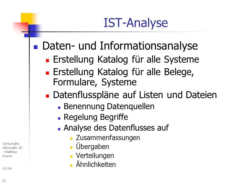 6.5.04 Wirtschafts- informatik III - Matthias Kraner 21 IST-Analyse Daten- und Informationsanalyse Erstellung Katalog für alle Systeme Erstellung Katalog für alle Belege, Formulare, Systeme Datenflusspläne auf Listen und Dateien Benennung Datenquellen Regelung Begriffe Analyse des Datenflusses auf Zusammenfassungen Übergaben Verteilungen Ähnlichkeiten