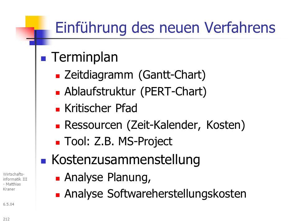 6.5.04 Wirtschafts- informatik III - Matthias Kraner 212 Einführung des neuen Verfahrens Terminplan Zeitdiagramm (Gantt-Chart) Ablaufstruktur (PERT-Chart) Kritischer Pfad Ressourcen (Zeit-Kalender, Kosten) Tool: Z.B.