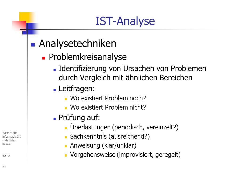 6.5.04 Wirtschafts- informatik III - Matthias Kraner 23 IST-Analyse Analysetechniken Problemkreisanalyse Identifizierung von Ursachen von Problemen durch Vergleich mit ähnlichen Bereichen Leitfragen: Wo existiert Problem noch.