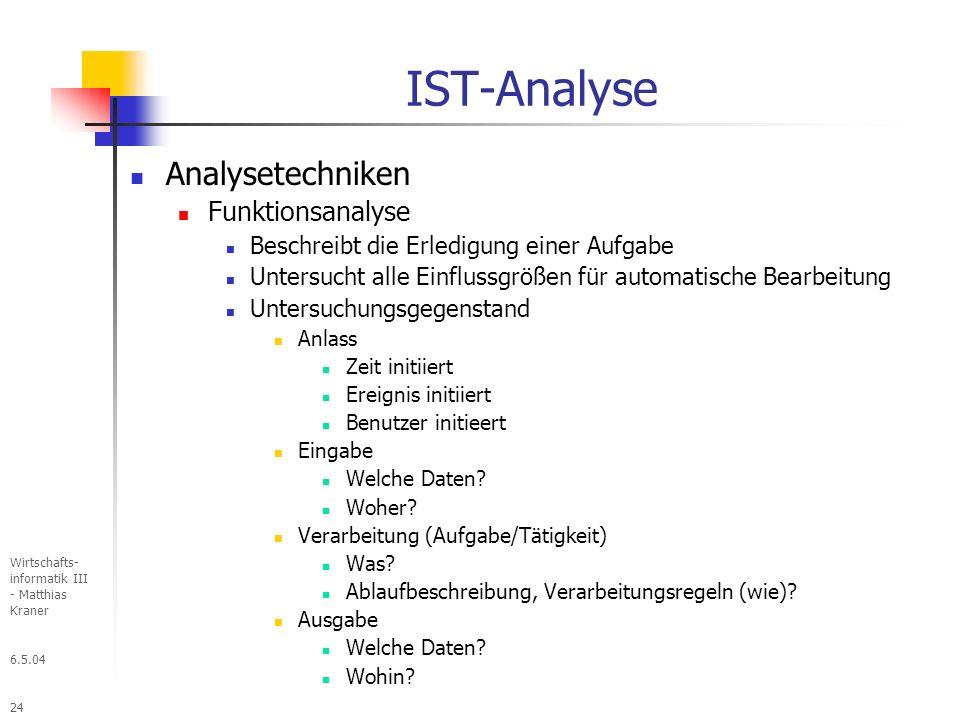 6.5.04 Wirtschafts- informatik III - Matthias Kraner 24 IST-Analyse Analysetechniken Funktionsanalyse Beschreibt die Erledigung einer Aufgabe Untersucht alle Einflussgrößen für automatische Bearbeitung Untersuchungsgegenstand Anlass Zeit initiiert Ereignis initiiert Benutzer initieert Eingabe Welche Daten.