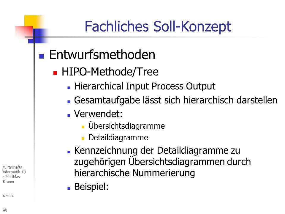 6.5.04 Wirtschafts- informatik III - Matthias Kraner 40 Fachliches Soll-Konzept Entwurfsmethoden HIPO-Methode/Tree Hierarchical Input Process Output Gesamtaufgabe lässt sich hierarchisch darstellen Verwendet: Übersichtsdiagramme Detaildiagramme Kennzeichnung der Detaildiagramme zu zugehörigen Übersichtsdiagrammen durch hierarchische Nummerierung Beispiel: