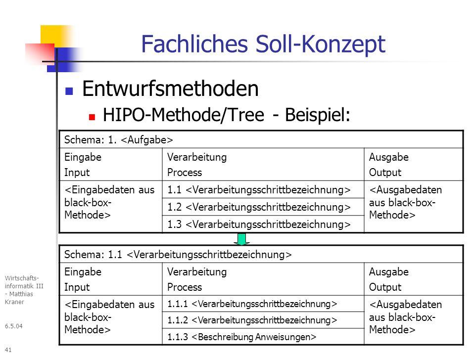 6.5.04 Wirtschafts- informatik III - Matthias Kraner 41 Fachliches Soll-Konzept Entwurfsmethoden HIPO-Methode/Tree - Beispiel: Schema: 1.