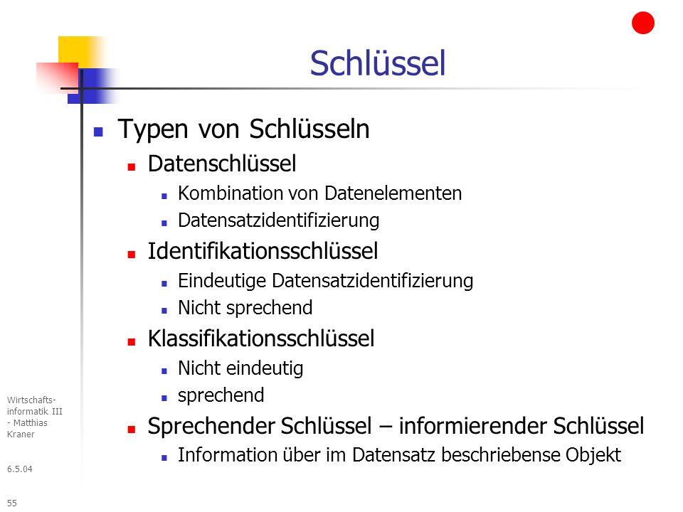 6.5.04 Wirtschafts- informatik III - Matthias Kraner 55 Schlüssel Typen von Schlüsseln Datenschlüssel Kombination von Datenelementen Datensatzidentifizierung Identifikationsschlüssel Eindeutige Datensatzidentifizierung Nicht sprechend Klassifikationsschlüssel Nicht eindeutig sprechend Sprechender Schlüssel – informierender Schlüssel Information über im Datensatz beschriebense Objekt
