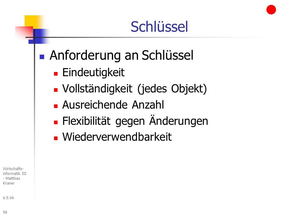 6.5.04 Wirtschafts- informatik III - Matthias Kraner 58 Schlüssel Anforderung an Schlüssel Eindeutigkeit Vollständigkeit (jedes Objekt) Ausreichende Anzahl Flexibilität gegen Änderungen Wiederverwendbarkeit