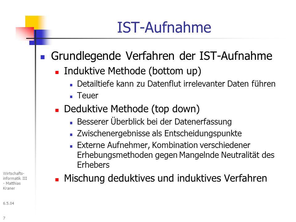 6.5.04 Wirtschafts- informatik III - Matthias Kraner 38 Fachliches Soll-Konzept Bereinigung der Schwachstellen Spezifizieren der fachlichen Anforderungen Datenperspektive Leitfragen: Welche Ausgaben werden benötigt.