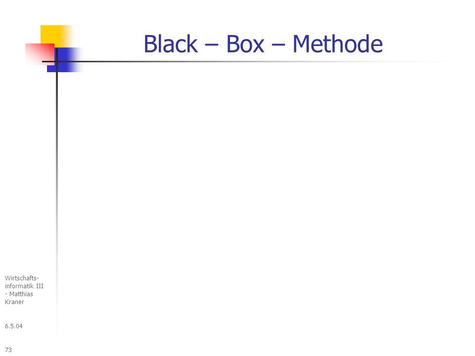 6.5.04 Wirtschafts- informatik III - Matthias Kraner 73 Black – Box – Methode