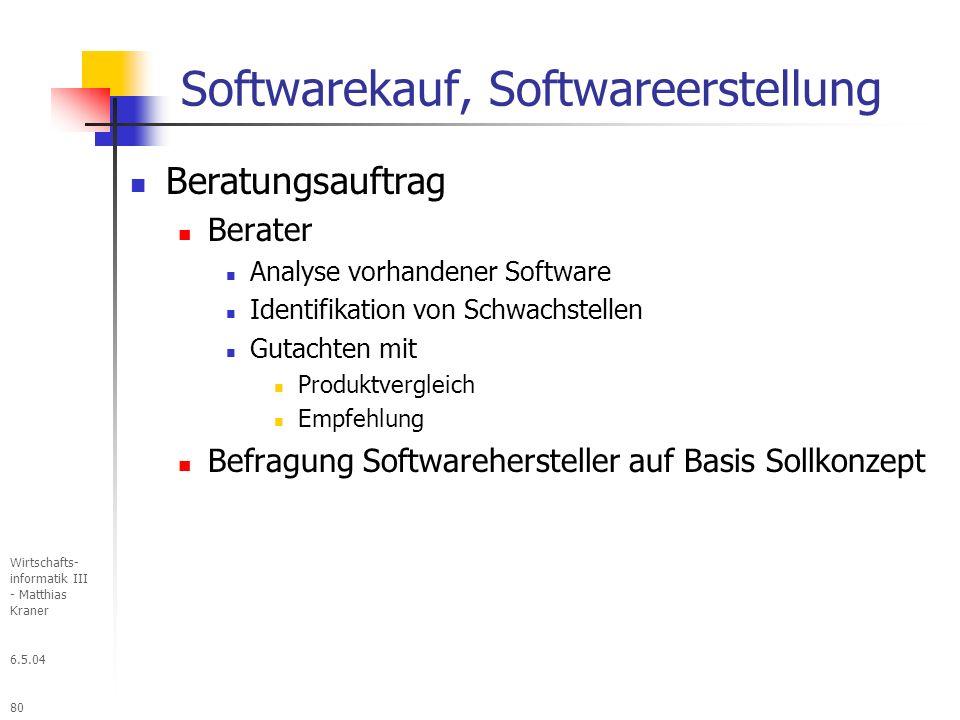 6.5.04 Wirtschafts- informatik III - Matthias Kraner 80 Softwarekauf, Softwareerstellung Beratungsauftrag Berater Analyse vorhandener Software Identifikation von Schwachstellen Gutachten mit Produktvergleich Empfehlung Befragung Softwarehersteller auf Basis Sollkonzept