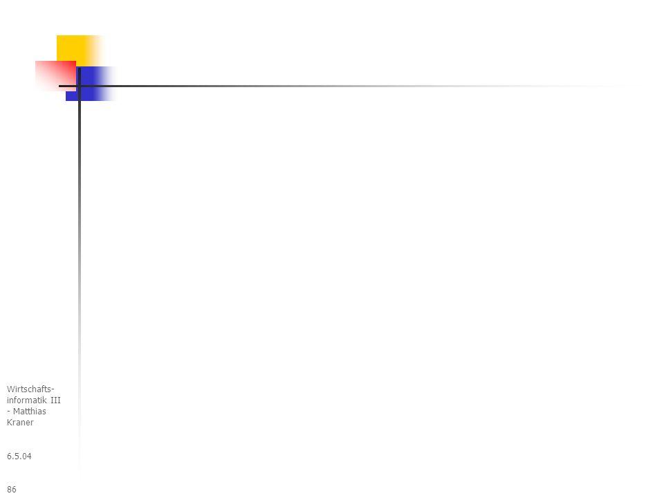 6.5.04 Wirtschafts- informatik III - Matthias Kraner 86