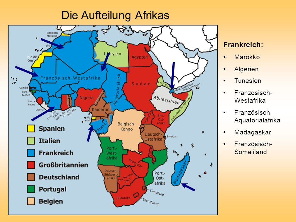 Die Aufteilung Afrikas Frankreich: Marokko Algerien Tunesien Französisch- Westafrika Französisch Äquatorialafrika Madagaskar Französisch- Somaliland