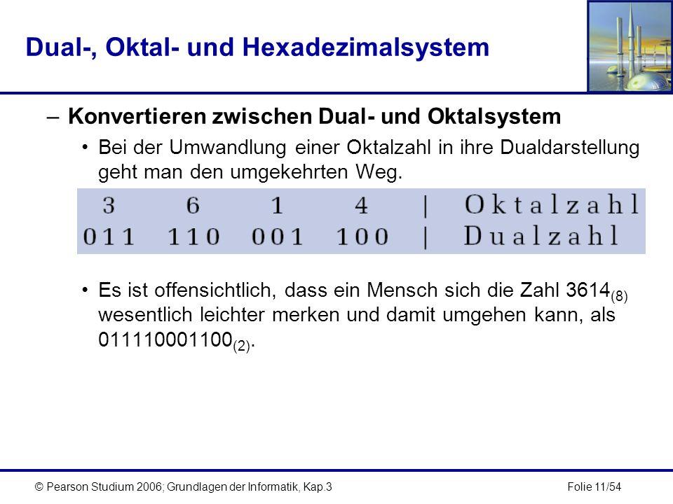 Folie 11/54© Pearson Studium 2006; Grundlagen der Informatik, Kap.3 Dual-, Oktal- und Hexadezimalsystem –Konvertieren zwischen Dual- und Oktalsystem B