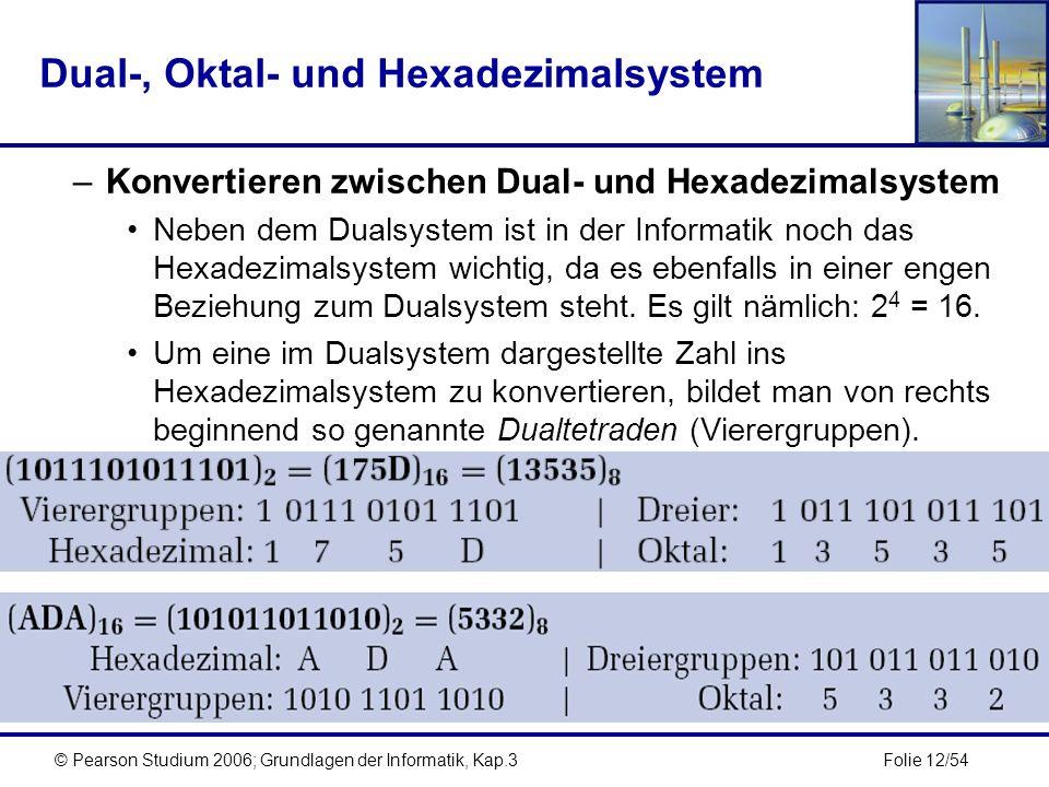 Folie 12/54© Pearson Studium 2006; Grundlagen der Informatik, Kap.3 Dual-, Oktal- und Hexadezimalsystem –Konvertieren zwischen Dual- und Hexadezimalsy