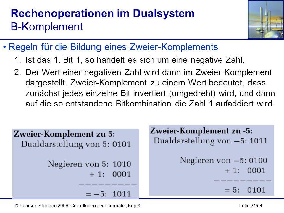 Folie 24/54© Pearson Studium 2006; Grundlagen der Informatik, Kap.3 Rechenoperationen im Dualsystem B-Komplement Regeln für die Bildung eines Zweier-K