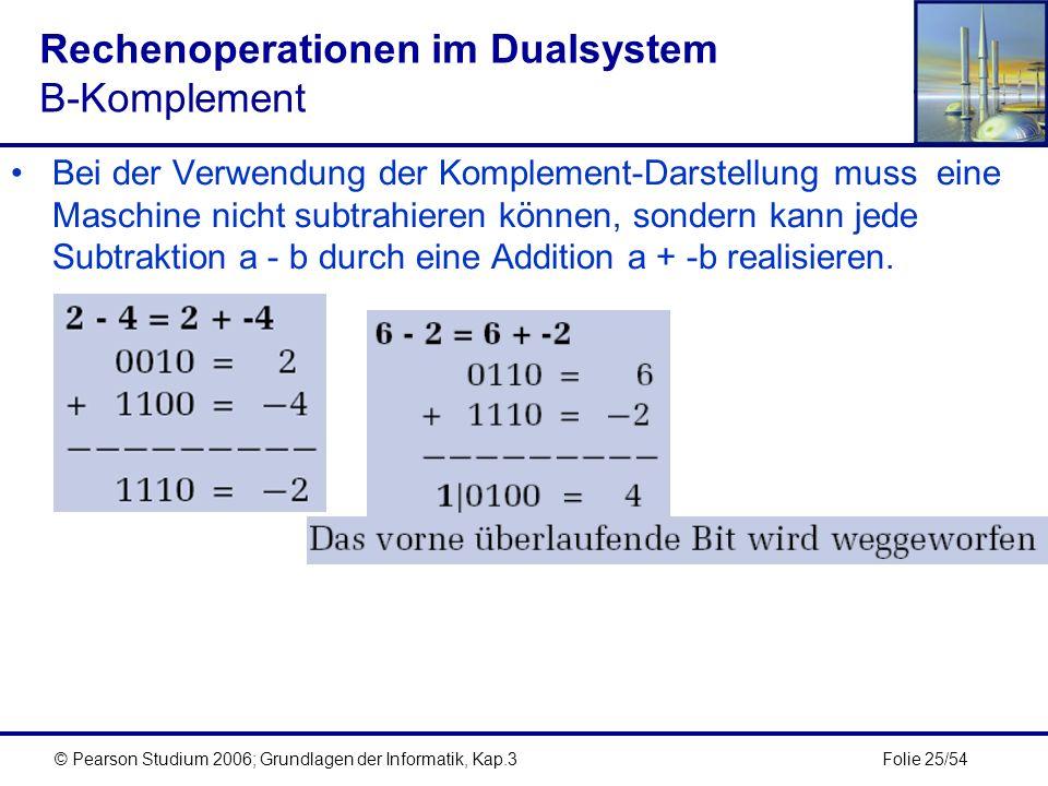 Folie 25/54© Pearson Studium 2006; Grundlagen der Informatik, Kap.3 Rechenoperationen im Dualsystem B-Komplement Bei der Verwendung der Komplement-Dar