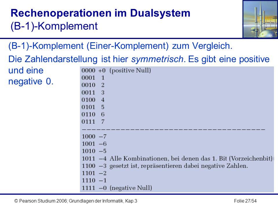 Folie 27/54© Pearson Studium 2006; Grundlagen der Informatik, Kap.3 Rechenoperationen im Dualsystem (B-1)-Komplement (B-1)-Komplement (Einer-Komplemen