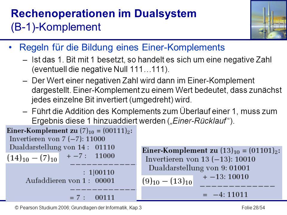 Folie 28/54© Pearson Studium 2006; Grundlagen der Informatik, Kap.3 Rechenoperationen im Dualsystem (B-1)-Komplement Regeln für die Bildung eines Eine